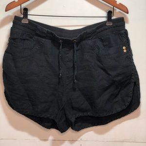 Guess Linen Shorts - Black Size L Drawstring Waist